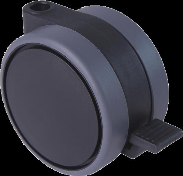 Doppelrollen Ø 75 mm - weiche Lauffläche | Doppelrollen mit weicher Lauffläche, Feststeller und durchgehender Radachse, Ø75mm, schwarz