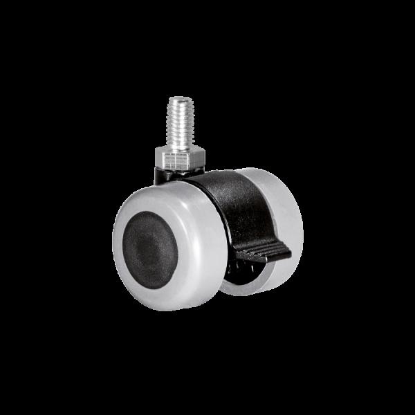 Doppelrollen Ø 35 mm - weiche Lauffläche | Doppelrolle Ø 035 mm mit weicher Lauffläche und Feststeller, Gewindestift M10x15 mm