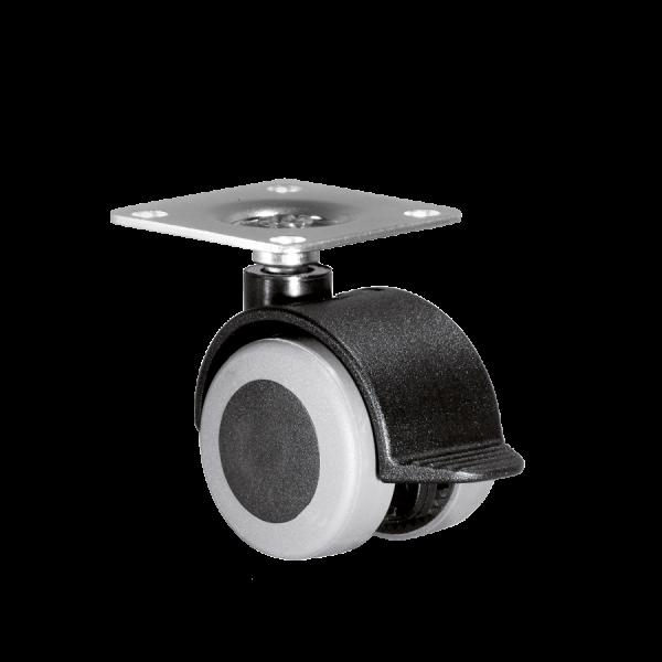 Doppelrollen Ø 40 mm - weiche Lauffläche | Doppelrolle Ø 040 mm mit weicher Lauffläche und Feststeller, Anschraubplatte 40x40 mm