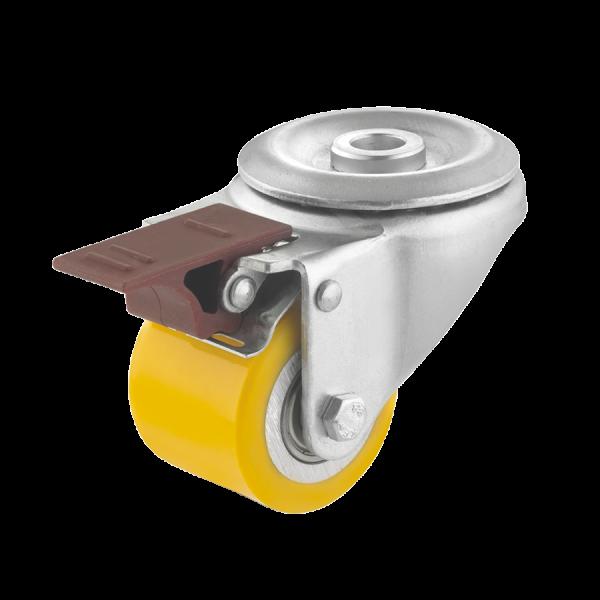 Mini-Schwerlastrollen   Mini-Schwerlast-Lenkrolle Ø 050 mm mit Feststeller, Rückenloch, Lauffläche aus Polyurethan mit Kugel