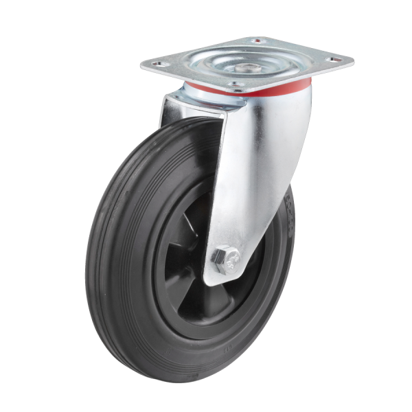 Industrierollen - Radserie VGK_R1 (Rollenlager) | Ø 160 mm, Lenkrolle mit Anschraubplatte, Radkörper aus Kunststoff, Lauffläche aus Vollgummi mit Roll