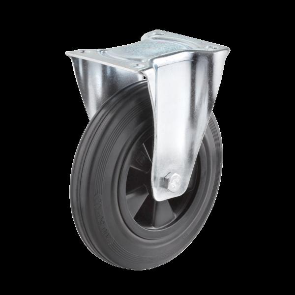 Industrierollen - Radserie VGK_R1 (Rollenlager) | Ø 200 mm, Bockrolle mit Anschraubplatte, Radkörper aus Kunststoff, Lauffläche aus Vollgummi mit Roll