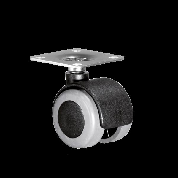 Doppelrollen Ø 50 mm - weiche Lauffläche | Doppelrolle Ø 050 mm mit weicher Lauffläche, Anschraubplatte 40x40 mm