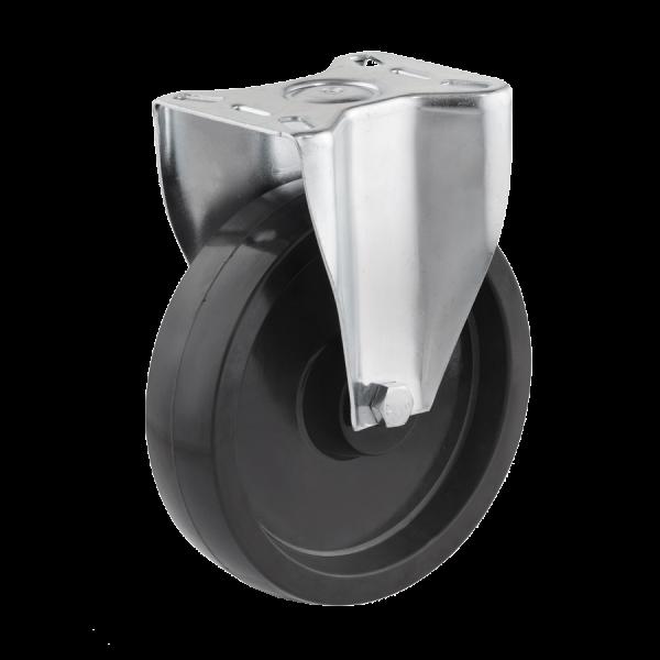 Industrierollen (Hitzebeständig) - Radserie DP_G (Gleitlager) | Ø 200 mm, Bockrolle mit Anschraubplatte, Radkörper aus hitzebeständigen Duroplast mit Gleitlager