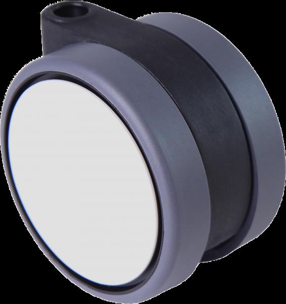 Doppelrollen Ø 75 mm - weiche Lauffläche | Doppelrollen mit weicher Lauffläche und durchgehender Radachse, Ø75mm, weiss