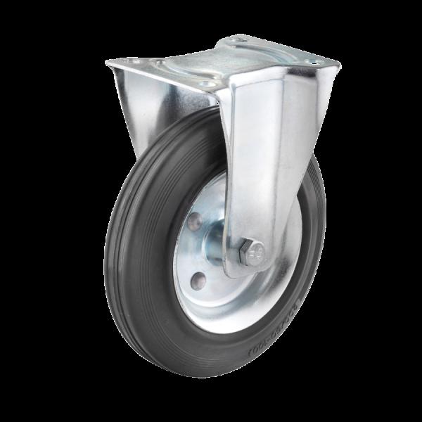 Industrierollen - Radserie VGS_R1 (Rollenlager) | Ø 200 mm, Bockrolle mit Anschraubplatte, Radkörper aus Stahlblech, Lauffläche aus Vollgummi mit Roll