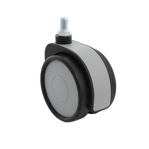 Design-Doppelrollen Ø 75 mm - weiche Lauffläche | Doppelrolle Ø 075 mm mit weicher Lauffläche, Kappen & Blende grau, Gewindestift M10x15 mm