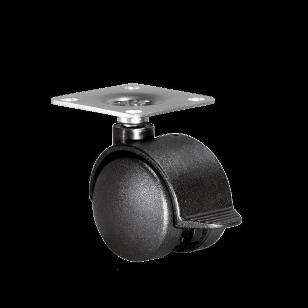 Doppelrollen Ø 40 mm - harte Lauffläche | Doppelrolle Ø 040 mm mit harter Lauffläche und Feststeller, Anschraubplatte 40x40 mm