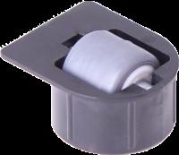 Stollenrolle mit Rad mit weicher Lauffläche grau, Ø 16 mm, für Bohrung Ø 25 mm, Bauhöhe 4 mm, mit Fa