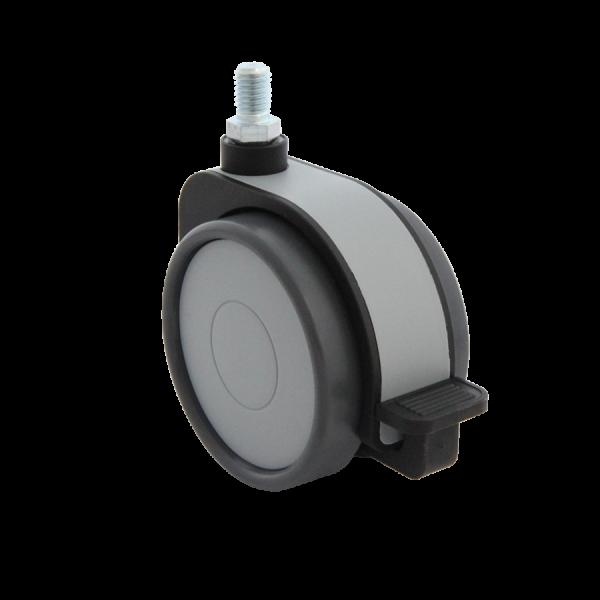 Design-Doppelrollen Ø 75 mm - weiche Lauffläche | Doppelrolle Ø 075 mm mit weicher Lauffläche und Feststeller, Kappen & Blende grau, Gewindestift