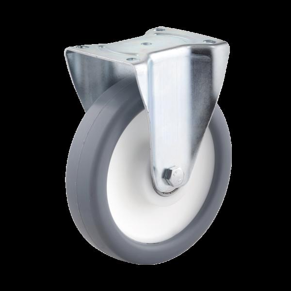 Industrierollen - Radserie TPPP_K1 (Kugellager) | Ø 080 mm, Bockrolle mit Anschraubplatte, Radkörper aus Polypropylen, Lauffläche aus Thermoplast mit