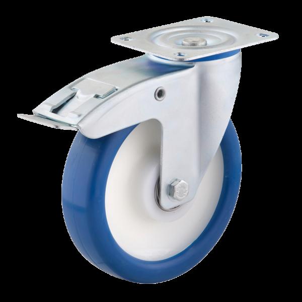 Industrierollen - Radserie PUPA_K1 (Kugellager) | Ø 200 mm, Lenkrolle mit Feststeller und Anschraubplatte, Radkörper aus Polyamid 6, Lauffläche aus Po
