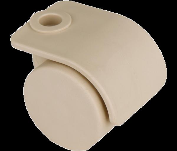 Möbelrollen in Farben | Doppelrolle Ø 035 mm mit harter Lauffläche, Bohrung Ø8mm, sand