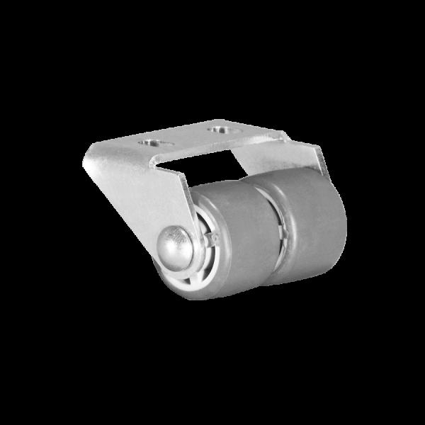 Kastenbockrollen | Ø 025 mm, Sonderkonstruktion Kastenbockrolle mit weicher Lauffläche, 2x Rad