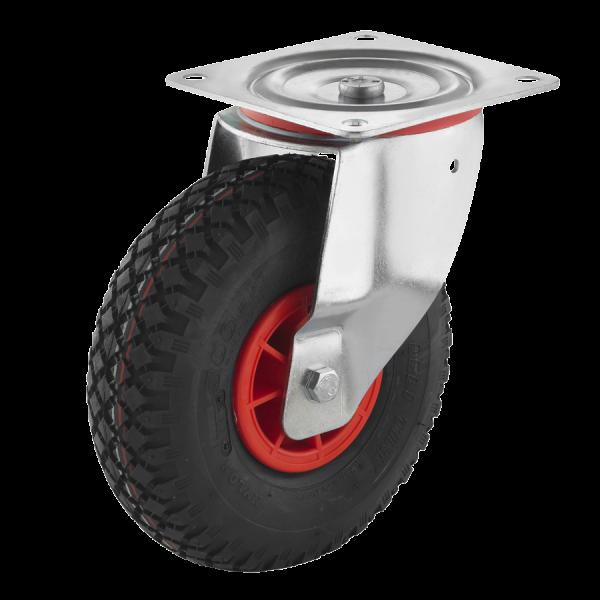 Industrierollen (Luftbereifung) - Radserie LUK_R1 (Rollenlager) | Ø 230 mm, Lenkrolle mit Anschraubplatte, Luftbereifung mit Rollenlager