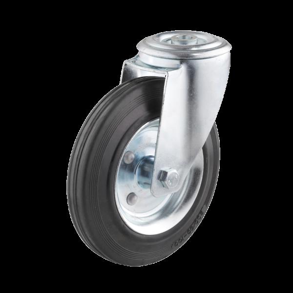 Industrierollen - Radserie VGS_R1 (Rollenlager) | Ø 200 mm, Lenkrolle mit Rückenloch, Radkörper aus Stahlblech, Lauffläche aus Vollgummi mit Rollenlag