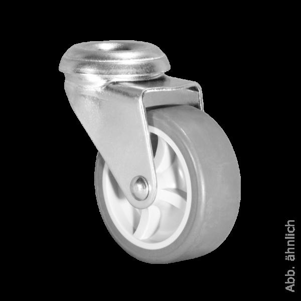 Apparaterollen / Geräterollen | Ø 075 mm Apparaterolle mit weicher Lauffläche, Rückenloch Ø 10,2 mm