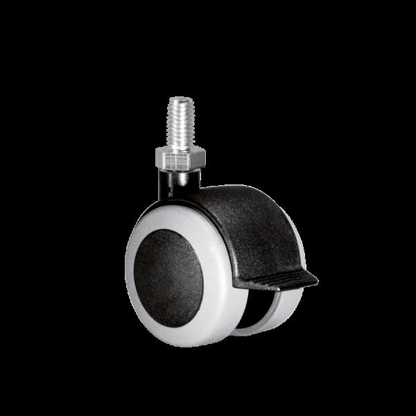 Doppelrollen Ø 50 mm - weiche Lauffläche | Doppelrolle Ø 050 mm mit weicher Lauffläche und Feststeller, Gewindestift M10x15 mm