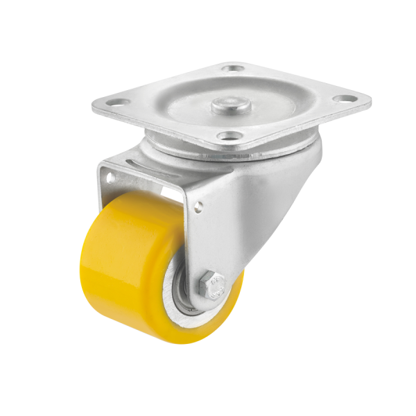 Mini-Schwerlastrollen | Mini-Schwerlast-Lenkrolle Ø 050 mm mit Anschraubplatte, Lauffläche aus Polyurethan mit Kugellager