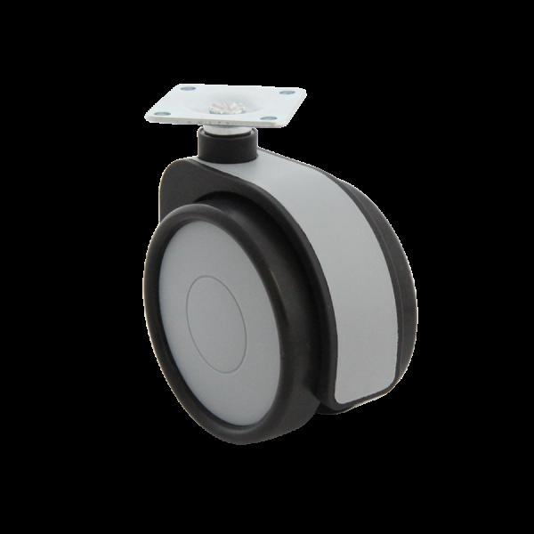 Design-Doppelrollen Ø 75 mm - weiche Lauffläche | Doppelrolle Ø 075 mm mit weicher Lauffläche, Kappen & Blende grau, Anschraubplatte