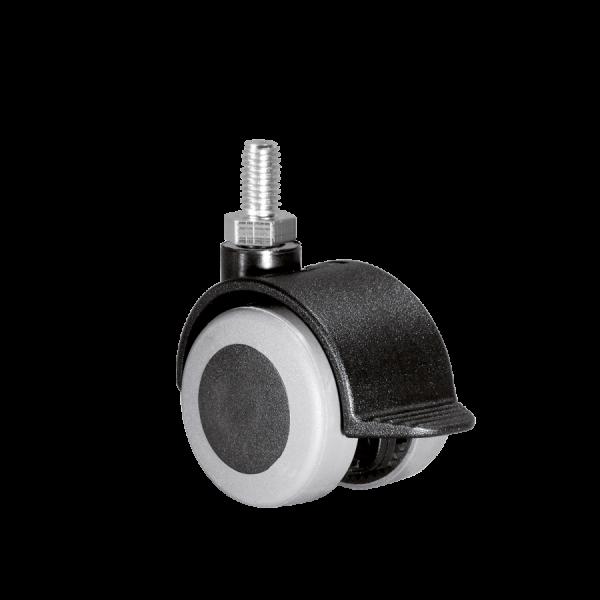Doppelrollen Ø 40 mm - weiche Lauffläche | Doppelrolle Ø 040 mm mit weicher Lauffläche und Feststeller, Gewindestift M10x15 mm