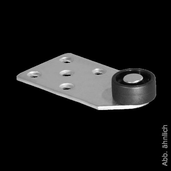 Sonderkonstruktionen mit Rolle | Kopfteilrolle 101x53 mm verzinkt mit Rolle Ø 030 mm, harte Lauffläche