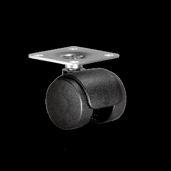 Doppelrollen Ø 35 mm - harte Lauffläche | Doppelrolle Ø 035 mm mit harter Lauffläche, Anschraubplatte 40x40 mm