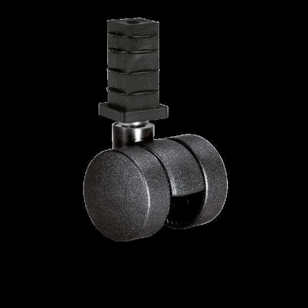 Doppelrollen Ø 35 mm - harte Lauffläche | Doppelrolle Ø 035 mm mit harter Lauffläche, Quadratrohrhülse 30x30x1,5 mm