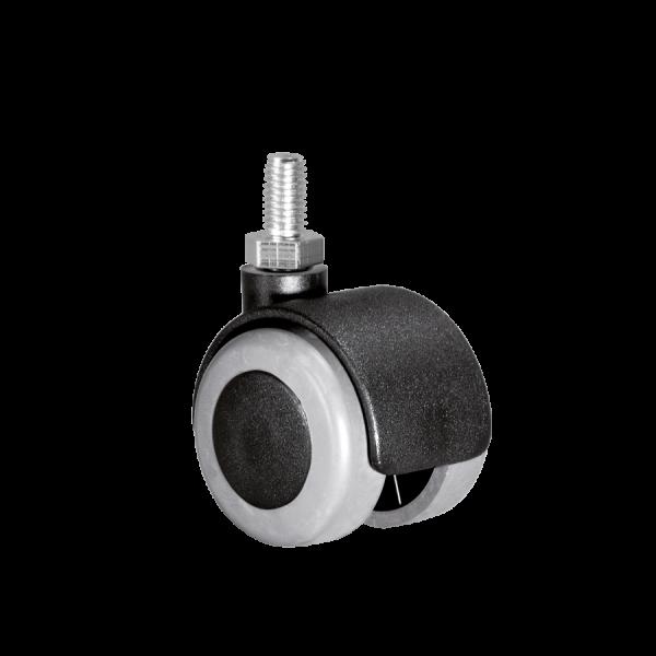 Doppelrollen Ø 40 mm - weiche Lauffläche | Doppelrolle Ø 040 mm mit weicher Lauffläche, Gewindestift M10x15 mm