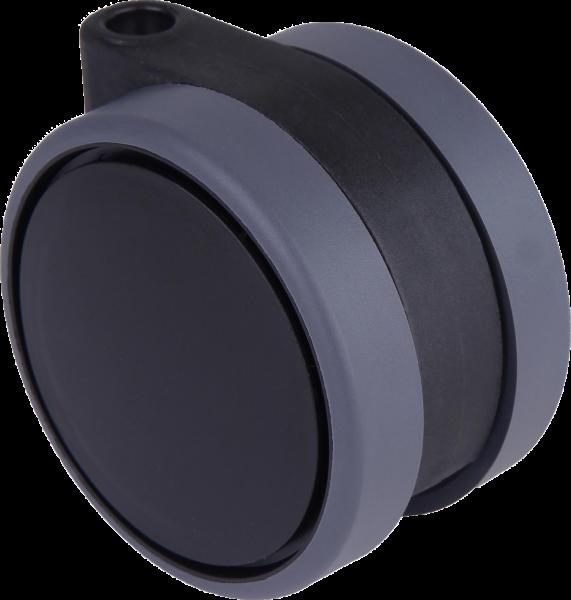 Doppelrollen Ø 75 mm - weiche Lauffläche | Doppelrollen mit weicher Lauffläche und durchgehender Radachse, Ø75mm, schwarz