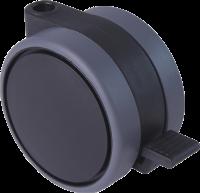Doppelrollen mit weicher Lauffläche, Feststeller und durchgehender Radachse, Ø75mm, schwarz