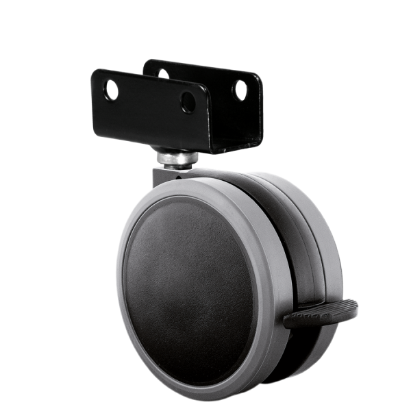 Doppelrollen Ø 65 mm - weiche Lauffläche | Doppelrolle Ø 065 mm mit weicher Lauffläche und Feststeller, Plattenschuh 22 mm