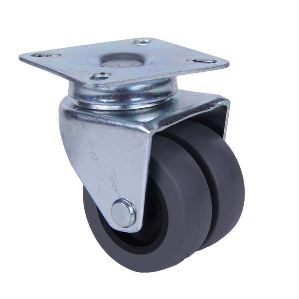 Apparaterollen / Geräterollen | Ø 075 mm Apparaterolle mit weicher Lauffläche, Zwillingsbereifung, Anschraubplatte 60x60 mm