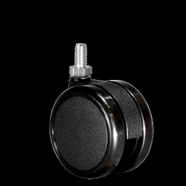 Doppelrollen Ø 75 mm - harte Lauffläche | Doppelrolle Ø 075 mm mit harter Lauffläche, Gewindestift M10x15 mm