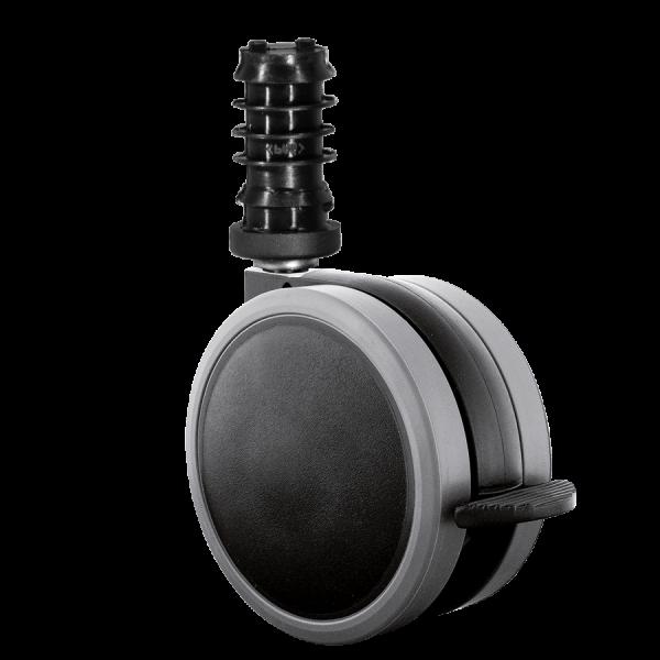 Doppelrollen Ø 65 mm - weiche Lauffläche | Doppelrolle Ø 065 mm mit weicher Lauffläche und Feststeller, Befestigungshülse Ø 10x37 mm