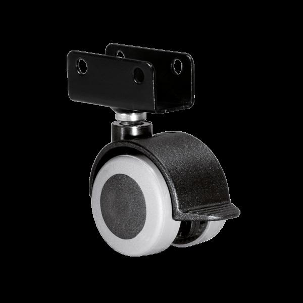 Doppelrollen Ø 40 mm - weiche Lauffläche | Doppelrolle Ø 040 mm mit weicher Lauffläche und Feststeller, Plattenschuh 19 mm
