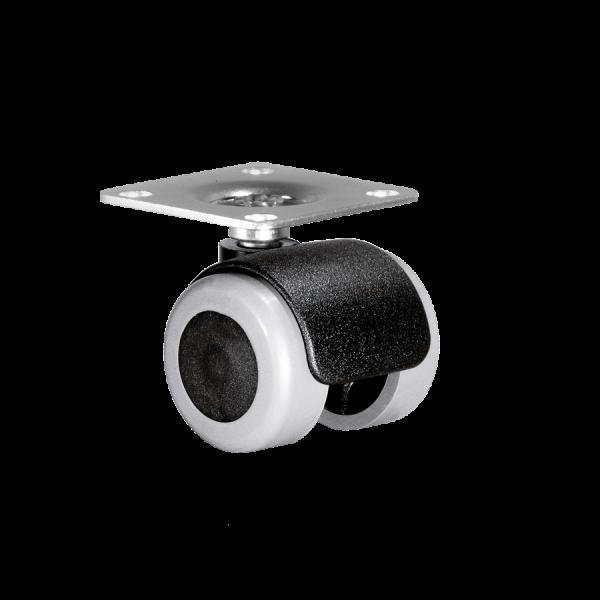 Doppelrollen Ø 35 mm - weiche Lauffläche | Doppelrolle Ø 035 mm mit weicher Lauffläche, Anschraubplatte 40x40 mm