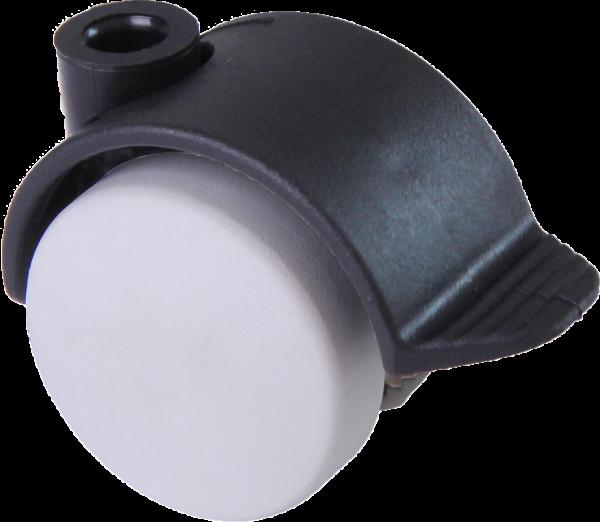 Möbelrollen in Farben | Doppelrolle Ø 040 mm mit harter Lauffläche und Feststeller, Bohrung Ø 8mm, schwarz-weiss