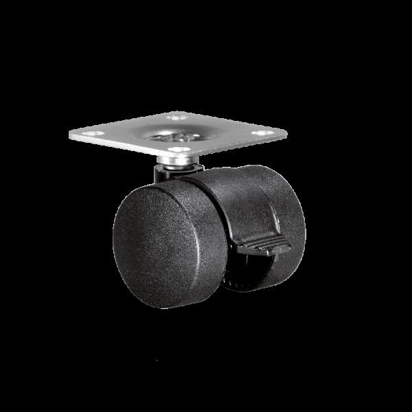 Doppelrollen Ø 35 mm - harte Lauffläche | Doppelrolle Ø 035 mm mit harter Lauffläche und Feststeller, Anschraubplatte 40x40 mm