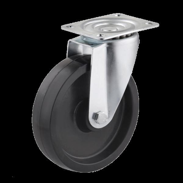Industrierollen (Hitzebeständig) - Radserie DP_G (Gleitlager) | Ø 200 mm, Lenkrolle mit Anschraubplatte, Radkörper aus hitzebeständigen Duroplast mit Gleitlager