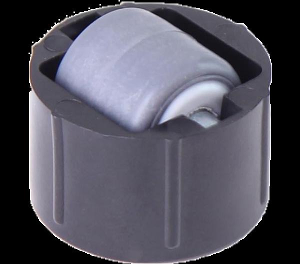 Einbauprodukte | Stollenrolle mit Rad mit weicher Lauffläche grau, Ø 16 mm, für Bohrung Ø 25 mm, Bauhöhe 4 mm