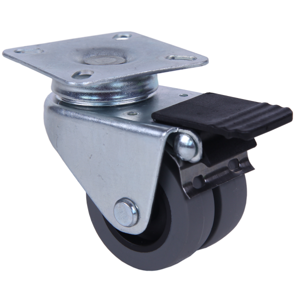 Apparaterollen / Geräterollen | Ø 050 mm Apparaterolle mit weicher Lauffläche, Zwillingsbereifung mit Feststeller, Anschraubplatte 6