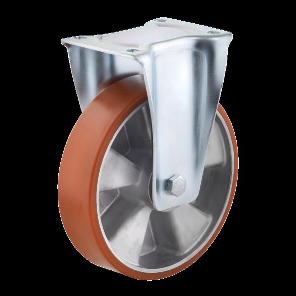 Industrierollen - Radserie PUAD_K1 (Kugellager) | Ø 200 mm, Bockkrolle mit Anschraubplatte, Radkörper aus Aluminium-Druckguss, Lauffläche aus Polyuret