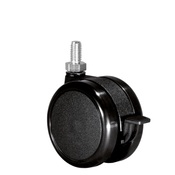 Doppelrollen Ø 75 mm - harte Lauffläche | Doppelrolle Ø 075 mm mit harter Lauffläche und Feststeller, Gewindestift M8x15 mm