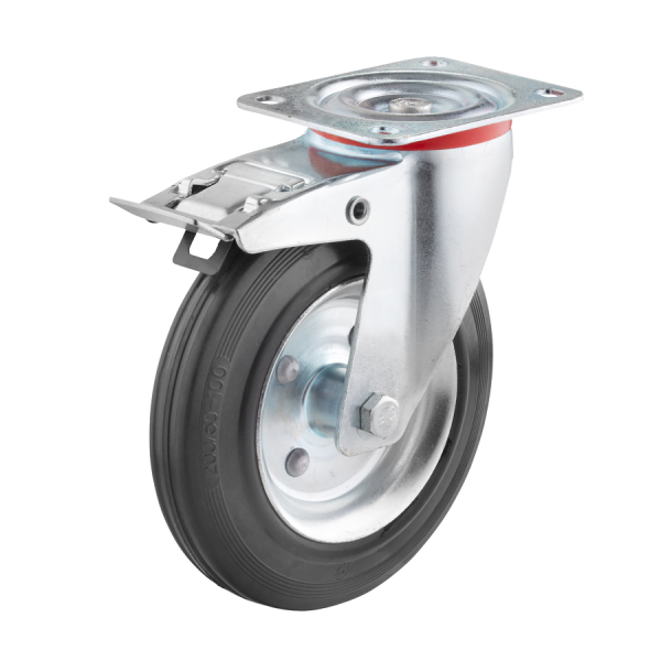 Industrierollen - Radserie VGS_R1 (Rollenlager) | Ø 160 mm, Lenkrolle mit Feststeller und Anschraubplatte, Radkörper aus Stahlblech, Lauffläche aus Vo