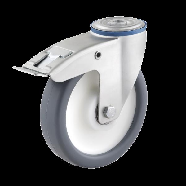 Industrierollen - Radserie TPPP_K1 (Kugellager) | Ø 100 mm, Lenkrolle mit Feststeller und Rückenloch, Radkörper aus Polypropylen, Lauffläche aus Therm