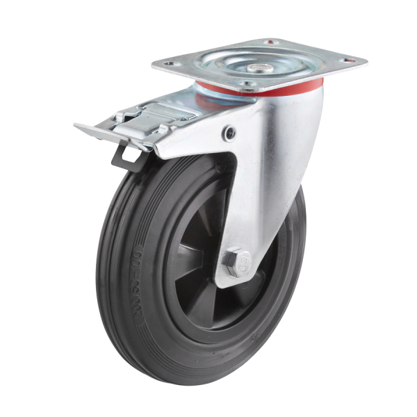 Industrierollen - Radserie VGK_R1 (Rollenlager) | Ø 200 mm, Lenkrolle mit Feststeller und Anschraubplatte, Radkörper aus Kunststoff, Lauffläche aus Vo