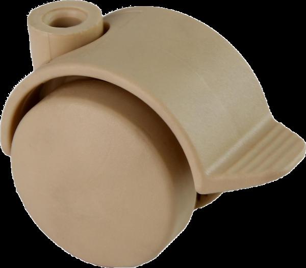 Möbelrollen in Farben | Doppelrolle Ø 040 mm mit harter Lauffläche und Feststeller, Bohrung Ø 8mm, sand