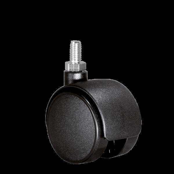 Doppelrollen Ø 50 mm - harte Lauffläche | Doppelrolle Ø 050 mm mit harter Lauffläche, Gewindestift M10x15 mm