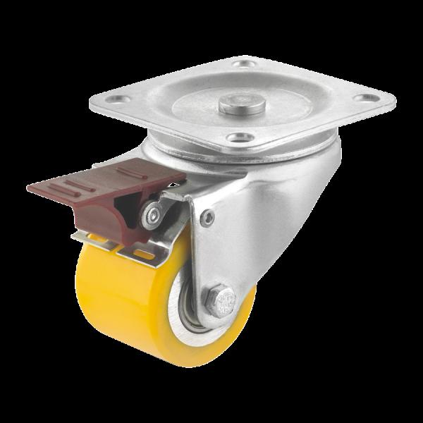 Mini-Schwerlastrollen | Mini-Schwerlast-Lenkrolle Ø 050 mm mit Feststeller, Anschraubplatte, Lauffläche aus Polyurethan mit